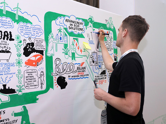 Live scribing at Qatar Sustainability Summit. Artist illustrating key takeaways from GORD's technical sessions.