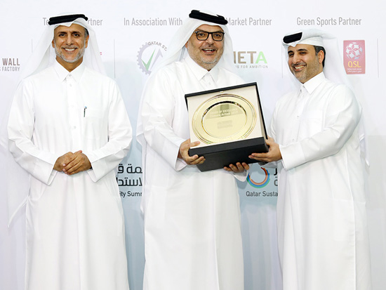Sustainability champions being acknowledged with certification of appreciation at Qatar Sustainability Summit. a proud moment for the nation with Ashghal receiving Award for Excellence in Climate Action.